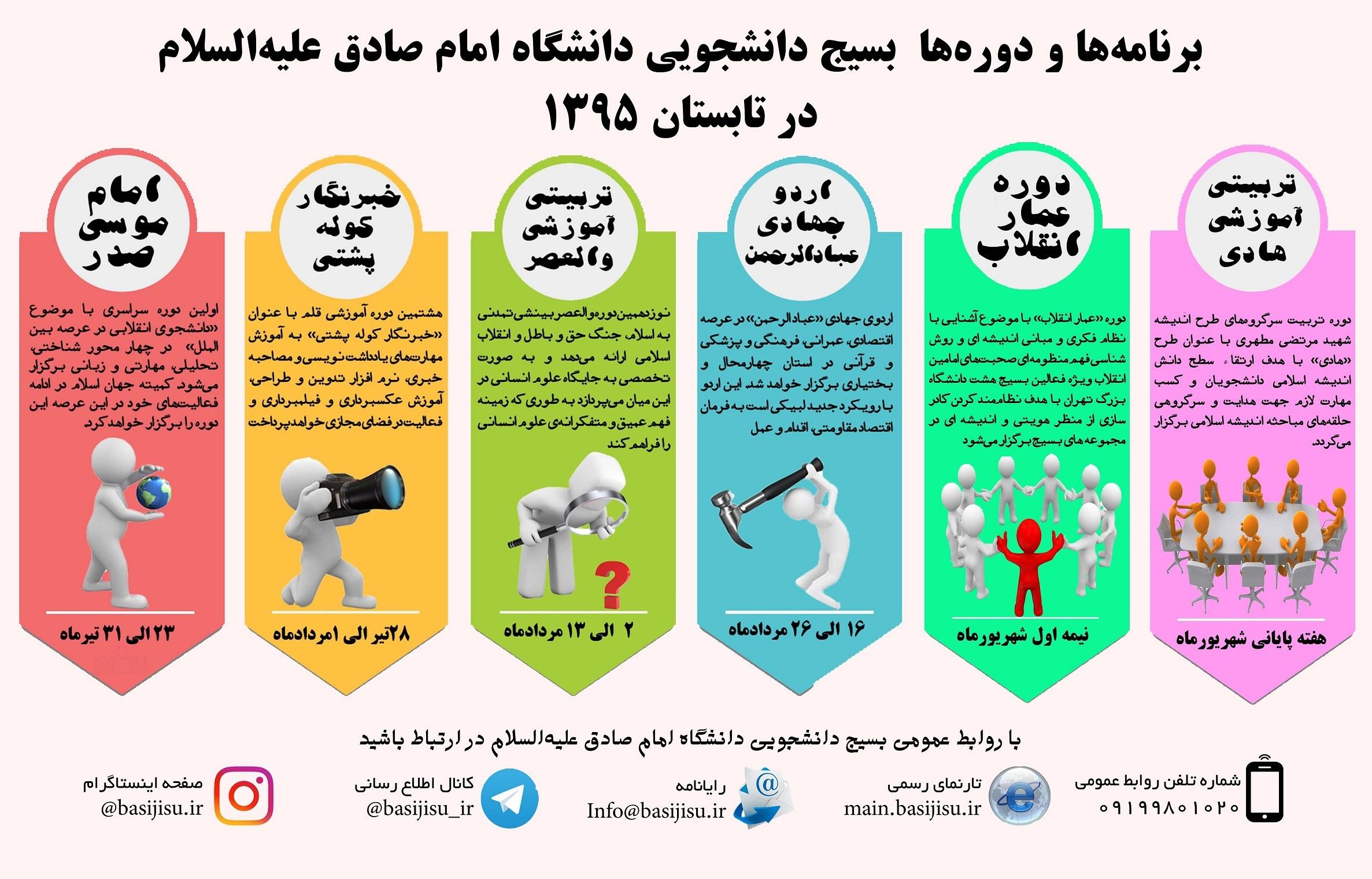 برنامه ها و دوره های بسیج دانشجویی دانشگاه امام صادق(ع) در تابستان ۱۳۹۵